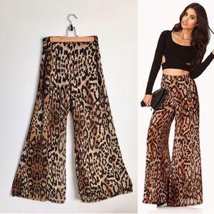 New Leopard Chiffon Wide Leg Palazzo Pants